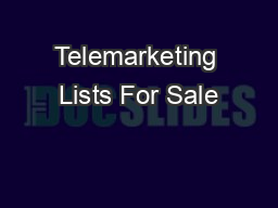 Telemarketing Lists For Sale