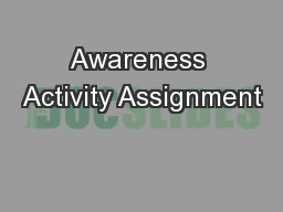 Awareness Activity Assignment