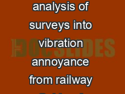A meta analysis of surveys into vibration annoyance from railway Sabine A