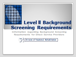 Level ll Background Screening Requirements