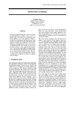 article Filters in Robotics Sebastian Thrun Computer Science Department Carne gie Mellon Uni ersity Pittsb ur gh  httpwww PDF document - DocSlides