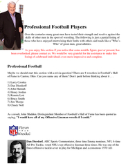 Professional Football Players Over the centuries many great men have t
