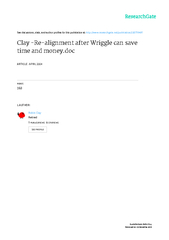 Clay - Re-alignment after Wriggle can save time and money.doc Page 2 o