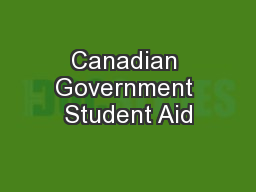 Canadian Government Student Aid