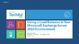 Using a Load Balancer in Your Microsoft Exchange Server 201