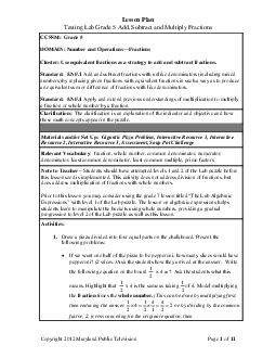 Lesson Plan Testing Lab Grade  Add S ubtract and Multiply Fractions Copyright  Maryland Pub lic Television Page of  CCSSM Grade  DOMAIN Number and OperationsFractions Cluster Use equivalent fractions