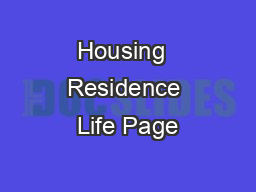 Housing  Residence Life Page PDF document - DocSlides