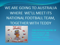 WE ARE GOING TO AUSTRALIA WHERE  WE'LL MEET ITS NATIONAL