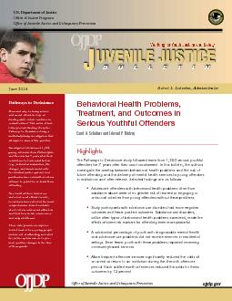 Behavioral Health Problems, Treatment, and Outcomes in Serious Youthfu