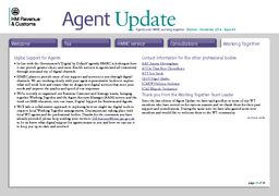 page of  Agents and HMRC working together October  November   Issue  Agent pdate Welcome Tax HMRC service Consultations Working Together Tax Developments and changes to legislation and allowances rel PDF document - DocSlides