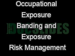 Occupational Exposure Banding and Exposure Risk Management