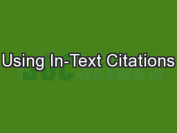 Using In-Text Citations