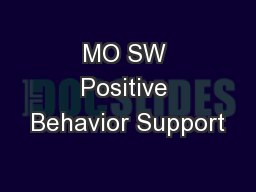 MO SW Positive Behavior Support