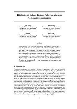 Efcient and Robust Feature Selection via Joint Norms Minimization Feiping Nie Computer Science and Engineering University of Texas at Arlington feipingniegmail PDF document - DocSlides