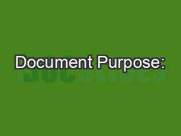 Document Purpose: