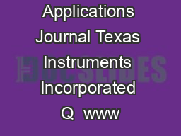 Analog Applications Journal Texas Instruments Incorporated Q  www PowerPoint PPT Presentation