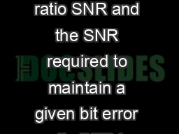 Abstract The margin or the difference between the received signaltonoise ratio SNR and the SNR required to maintain a given bit error ratio BER is important to the design and operation of optical amp