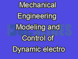 NPTEL  Mechanical Engineering  Modeling and Control of Dynamic electro PowerPoint PPT Presentation