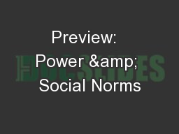 Preview:  Power & Social Norms