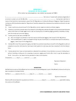 ANNEXURE 1AFFIDAVIT BY THE STUDENT