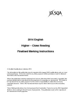2014 EnglishHigher Close Reading