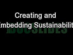 Creating and Embedding Sustainability PowerPoint PPT Presentation