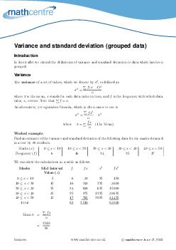 ariance and standard deviation grouped data Introduction In this leaet we extend the denitions of variance and standard deviation to data which has been grouped PDF document - DocSlides