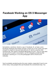 Facebook Working on OS X Messenger App