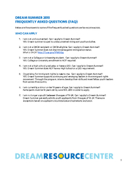 DREAM SUMMER 2015 FREQUENTLY ASKED QUESTIONS (FAQ)