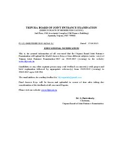 TRIPURA BOARD OF JOINT ENTRANCE EXAMINATION