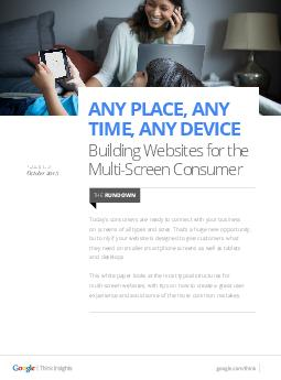 Building Websites for the MultiScreen Consumer ANY PLACE ANY TIME ANY DEVICE Tod