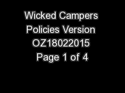 Wicked Campers Policies Version OZ18022015 Page 1 of 4