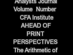 JanuaryFebruary  Ahead of Print Financial Analysts Journal Volume  Number   CFA Institute AHEAD OF PRINT PERSPECTIVES The Arithmetic of AllIn Investment Expenses John C