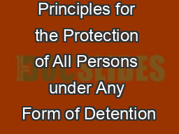 Body of Principles for the Protection of All Persons under Any Form of Detention
