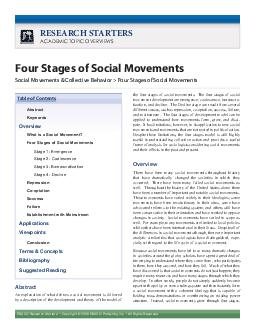 EBSCO Research Starters RSULJKWXEOLVKLQJQFOOLJKWVHVHUYHG RESEARCH STARTERS Four Stages of Social Movements Social Movements  Collective Behavior  Four Stages of Social Movements Abstract QHSODQDWLRQR