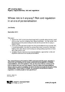JRF scoping paper Rights responsibilities risk and regulation Whose risk is it a