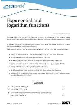 Exponential and logarithm functions mcTYexplogfns Exponentialfunctionsandlogarithmfunctionsareimporta ntinboththeoryandpractice