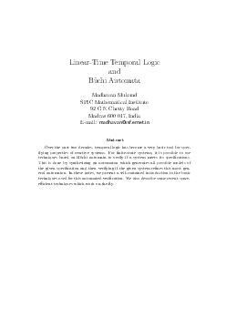 LinearTime Temporal Logic and Buchi Automata Madhavan Mukund SPIC Mathematical Institute  G N Chetty Road Madras   India Email madhavanssf