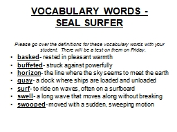 VOCABULARY WORDS -