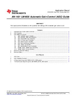 Application Report SNAAA April  Revised May  AN LM Automatic Gain Control AGC Guide