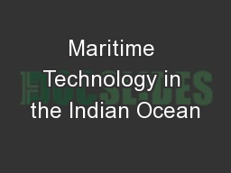 Maritime Technology in the Indian Ocean