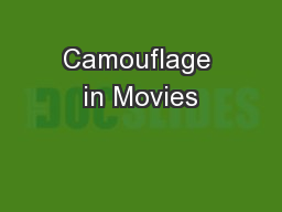 Camouflage in Movies