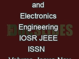IOS R Journal of Electrical and Electronics Engineering IOSR JEEE ISSN   Volume  Issue Nov PDF document - DocSlides
