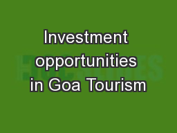 Investment opportunities in Goa Tourism