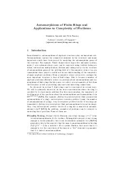 Automorphisms of Finite Rings and Applications to Complexity of Problems Manindra Agrawal and Nitin Saxena National University of Singapore  agarwalnitinsax comp