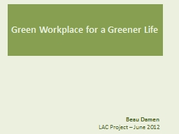 Green Workplace for a Greener Life