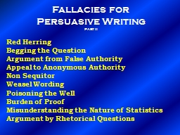 Fallacies for