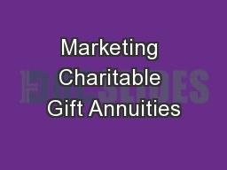 Marketing Charitable Gift Annuities