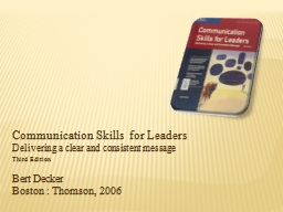 Communication Skills for Leaders PowerPoint PPT Presentation