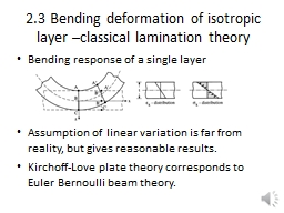 2.3 Bending deformation of isotropic layer –classical lam